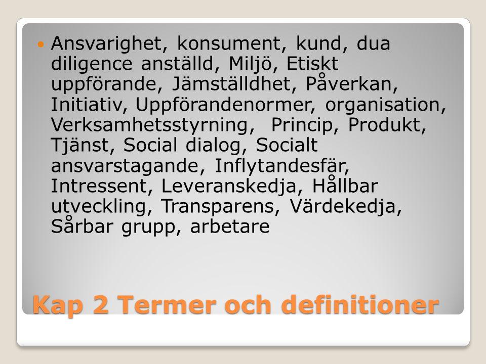 Kap 2 Termer och definitioner Ansvarighet, konsument, kund, dua diligence anställd, Miljö, Etiskt uppförande, Jämställdhet, Påverkan, Initiativ, Uppfö
