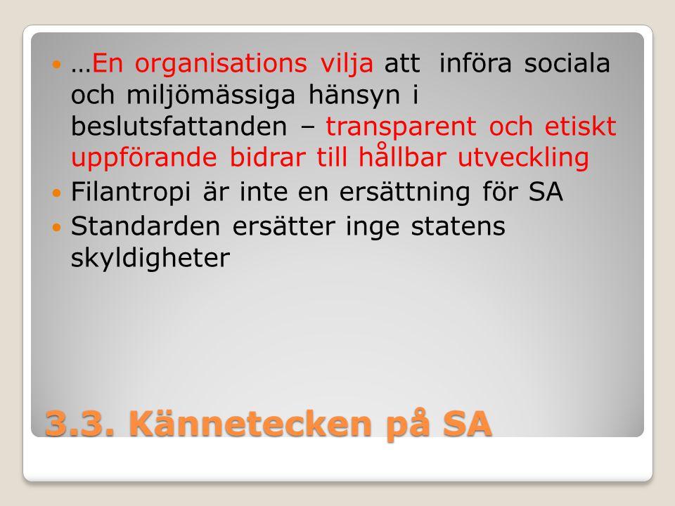 3.3. Kännetecken på SA …En organisations vilja att införa sociala och miljömässiga hänsyn i beslutsfattanden – transparent och etiskt uppförande bidra