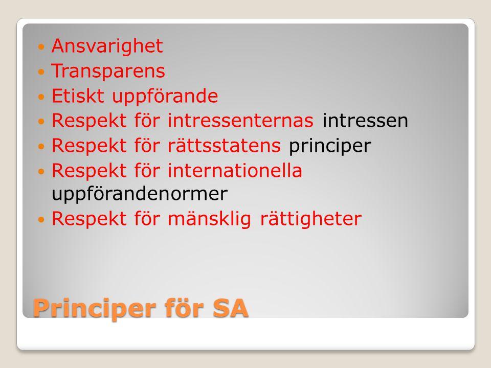 Principer för SA Ansvarighet Transparens Etiskt uppförande Respekt för intressenternas intressen Respekt för rättsstatens principer Respekt för intern