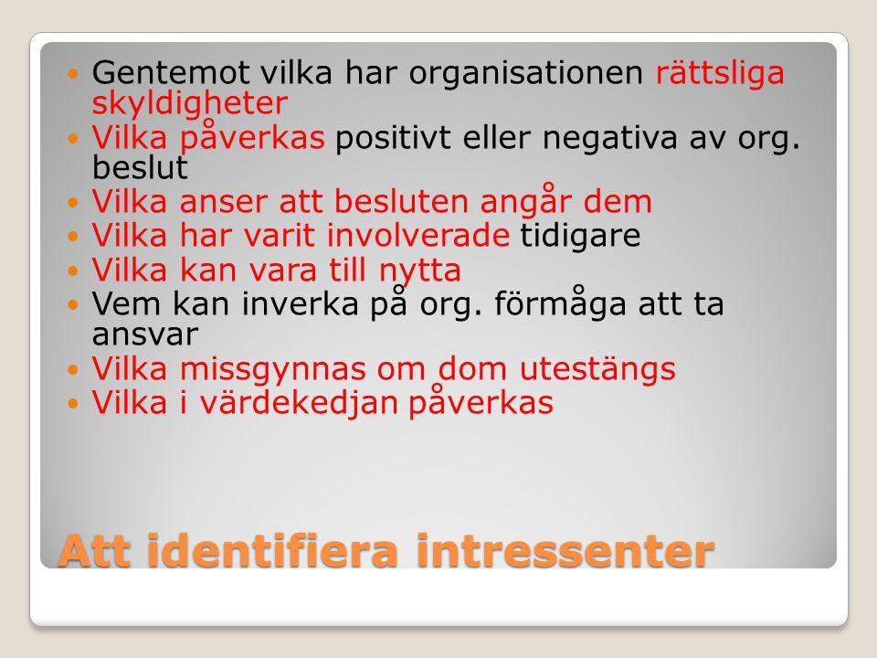 Att identifiera intressenter Gentemot vilka har organisationen rättsliga skyldigheter Vilka påverkas positivt eller negativa av org. beslut Vilka anse