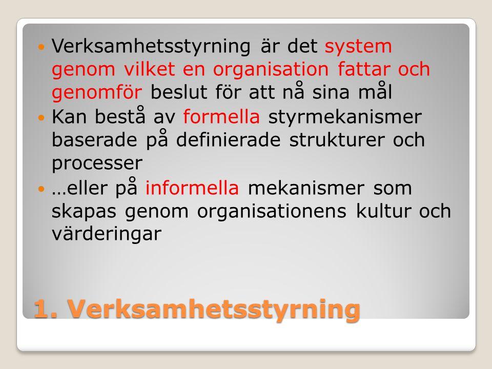 1. Verksamhetsstyrning Verksamhetsstyrning är det system genom vilket en organisation fattar och genomför beslut för att nå sina mål Kan bestå av form