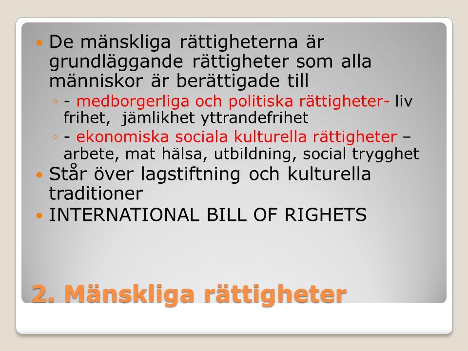 2. Mänskliga rättigheter De mänskliga rättigheterna är grundläggande rättigheter som alla människor är berättigade till ◦- medborgerliga och politiska