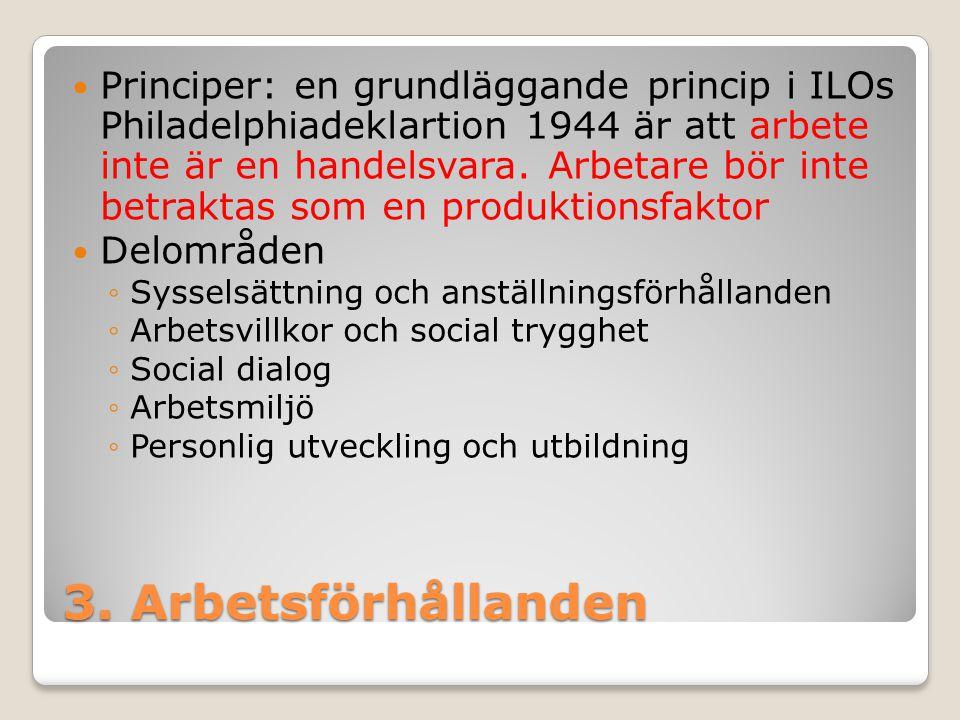 3. Arbetsförhållanden Principer: en grundläggande princip i ILOs Philadelphiadeklartion 1944 är att arbete inte är en handelsvara. Arbetare bör inte b