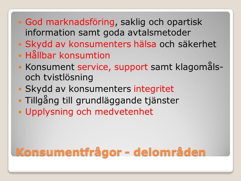 Konsumentfrågor - delområden God marknadsföring, saklig och opartisk information samt goda avtalsmetoder Skydd av konsumenters hälsa och säkerhet Håll