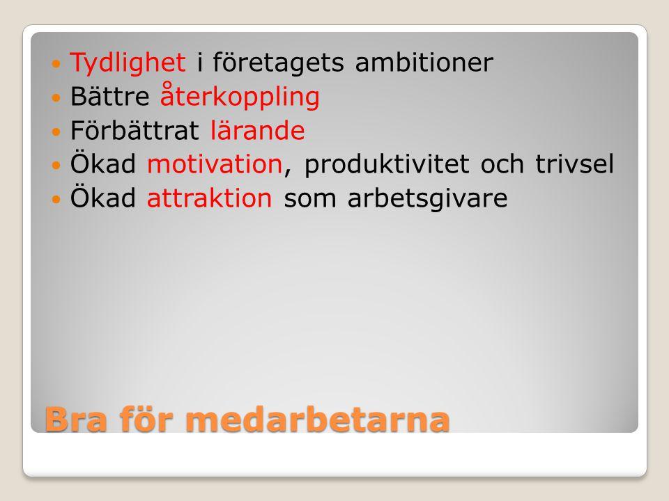 Bra för medarbetarna Tydlighet i företagets ambitioner Bättre återkoppling Förbättrat lärande Ökad motivation, produktivitet och trivsel Ökad attrakti