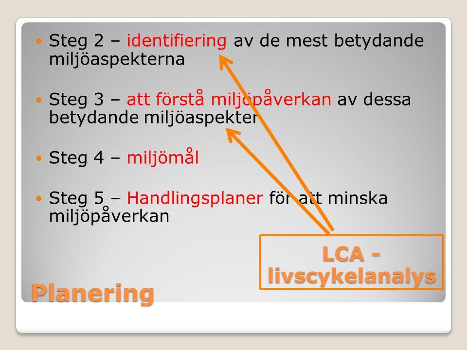 Planering Steg 2 – identifiering av de mest betydande miljöaspekterna Steg 3 – att förstå miljöpåverkan av dessa betydande miljöaspekter Steg 4 – milj