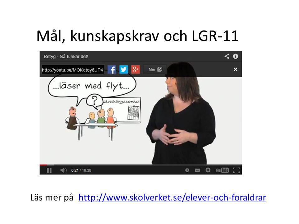 Mål, kunskapskrav och LGR-11 Läs mer på http://www.skolverket.se/elever-och-foraldrarhttp://www.skolverket.se/elever-och-foraldrar