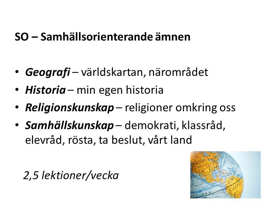 SO – Samhällsorienterande ämnen Geografi – världskartan, närområdet Historia – min egen historia Religionskunskap – religioner omkring oss Samhällskun