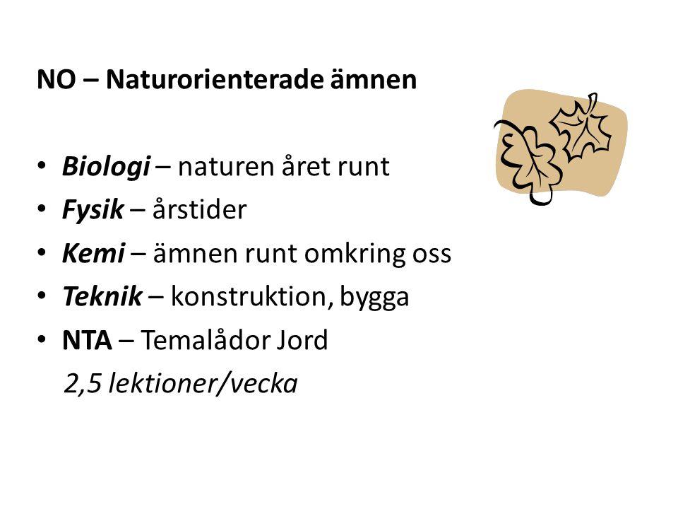 NO – Naturorienterade ämnen Biologi – naturen året runt Fysik – årstider Kemi – ämnen runt omkring oss Teknik – konstruktion, bygga NTA – Temalådor Jo