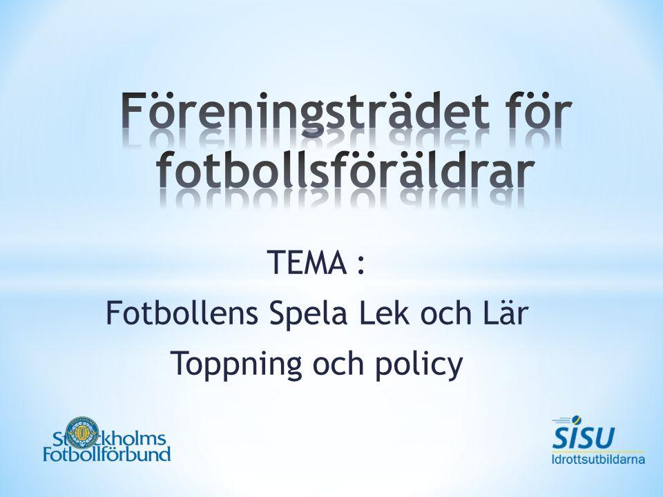 TEMA : Fotbollens Spela Lek och Lär Toppning och policy