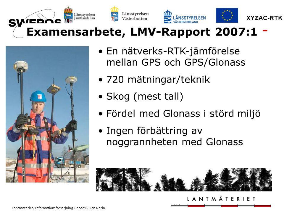 Lantmäteriet, Informationsförsörjning Geodesi, Dan Norin XYZAC-RTK En nätverks-RTK-jämförelse mellan GPS och GPS/Glonass 720 mätningar/teknik Skog (me