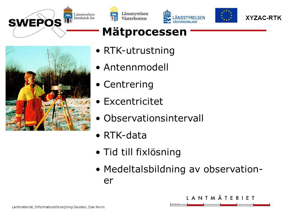 Lantmäteriet, Informationsförsörjning Geodesi, Dan Norin XYZAC-RTK RTK-utrustning Antennmodell Centrering Excentricitet Observationsintervall RTK-data