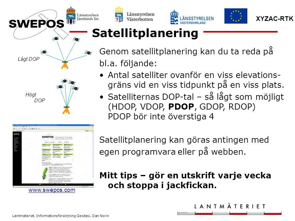 Lantmäteriet, Informationsförsörjning Geodesi, Dan Norin XYZAC-RTK Genom satellitplanering kan du ta reda på bl.a. följande: Antal satelliter ovanför