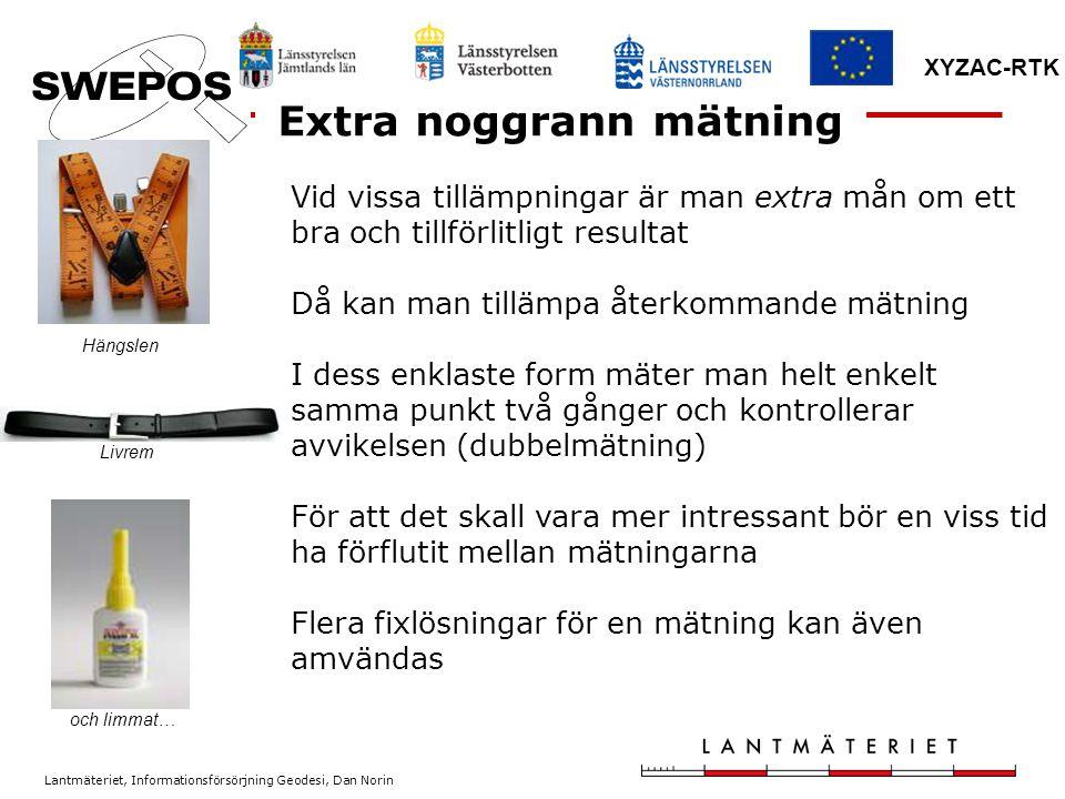 Lantmäteriet, Informationsförsörjning Geodesi, Dan Norin XYZAC-RTK Checklista ? ??? ! !!!