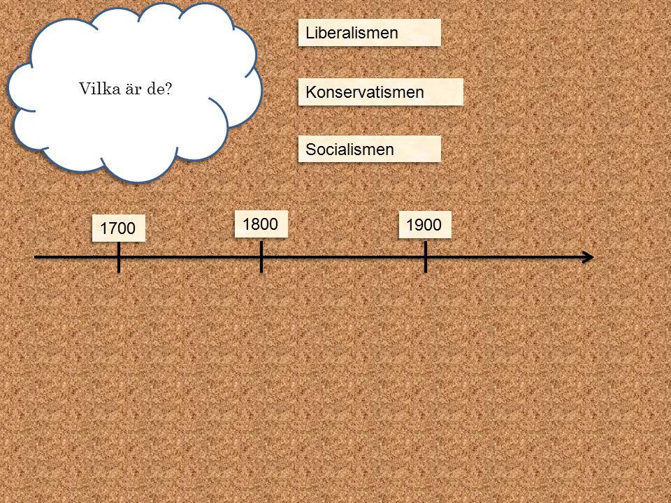 Vilka är de? 1700 1800 1900 Liberalismen Konservatismen Socialismen