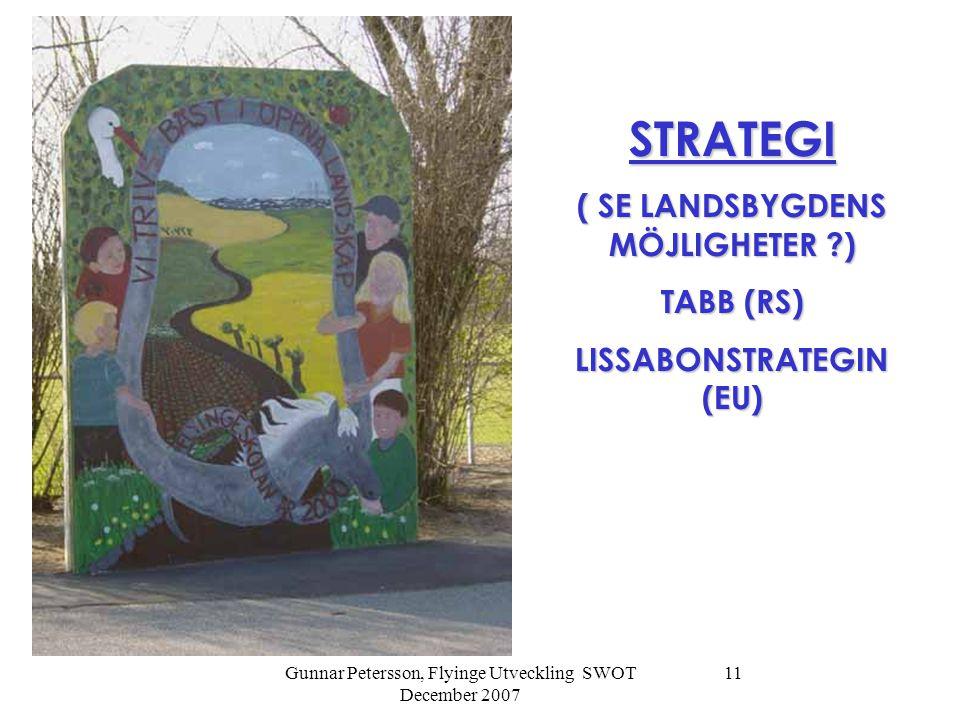 Gunnar Petersson, Flyinge Utveckling SWOT December 2007 11 STRATEGI ( SE LANDSBYGDENS MÖJLIGHETER ) TABB (RS) LISSABONSTRATEGIN (EU)