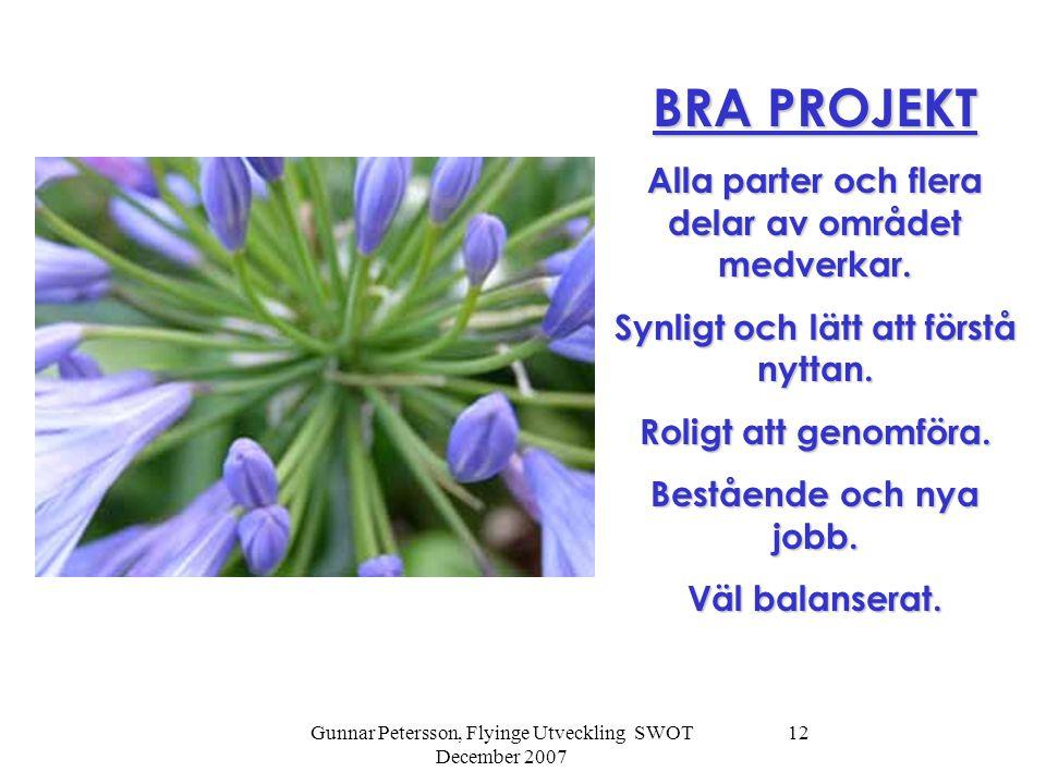 Gunnar Petersson, Flyinge Utveckling SWOT December 2007 12 BRA PROJEKT Alla parter och flera delar av området medverkar. Synligt och lätt att förstå n