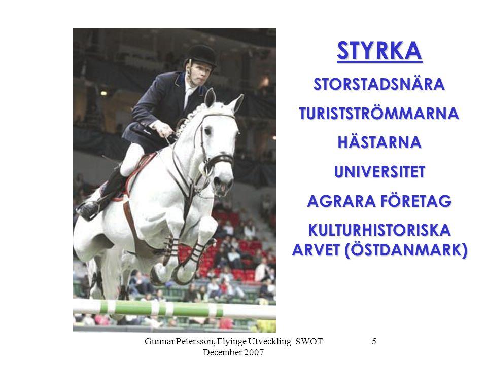 Gunnar Petersson, Flyinge Utveckling SWOT December 2007 5 STYRKASTORSTADSNÄRATURISTSTRÖMMARNAHÄSTARNAUNIVERSITET AGRARA FÖRETAG KULTURHISTORISKA ARVET (ÖSTDANMARK)