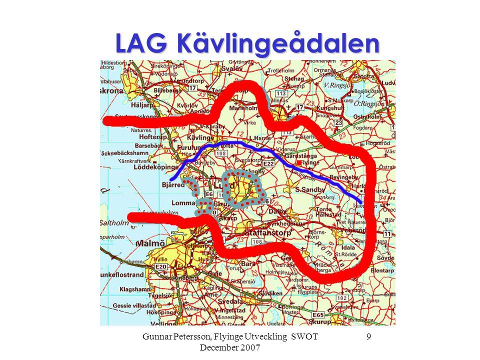 Gunnar Petersson, Flyinge Utveckling SWOT December 2007 9 LAG Kävlingeådalen LAG Kävlingeådalen
