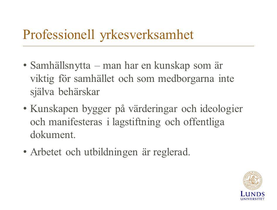 Professionell yrkesverksamhet Samhällsnytta – man har en kunskap som är viktig för samhället och som medborgarna inte själva behärskar Kunskapen bygge