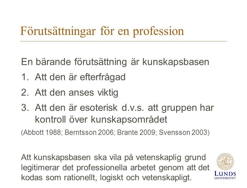 Förutsättningar för en profession En bärande förutsättning är kunskapsbasen 1.Att den är efterfrågad 2.Att den anses viktig 3.Att den är esoterisk d.v