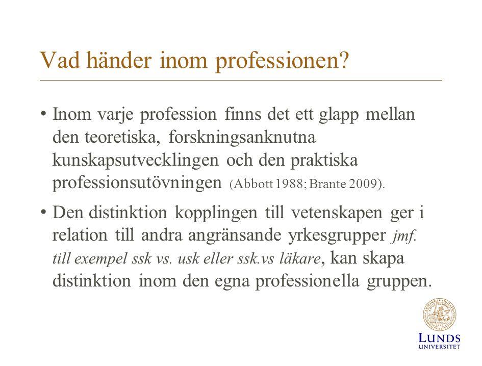 Vad händer inom professionen? Inom varje profession finns det ett glapp mellan den teoretiska, forskningsanknutna kunskapsutvecklingen och den praktis