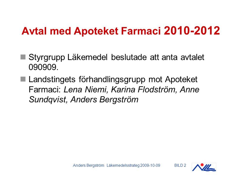 Anders Bergström Läkemedelsstrateg 2009-10-09BILD 2 Avtal med Apoteket Farmaci 2010-2012 Styrgrupp Läkemedel beslutade att anta avtalet 090909.