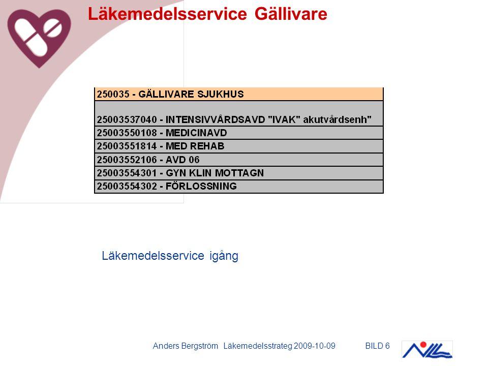 Anders Bergström Läkemedelsstrateg 2009-10-09BILD 7 Läkemedelsservice Kalix Läkemedelsservice igång förutom på Rehabavdelningen.