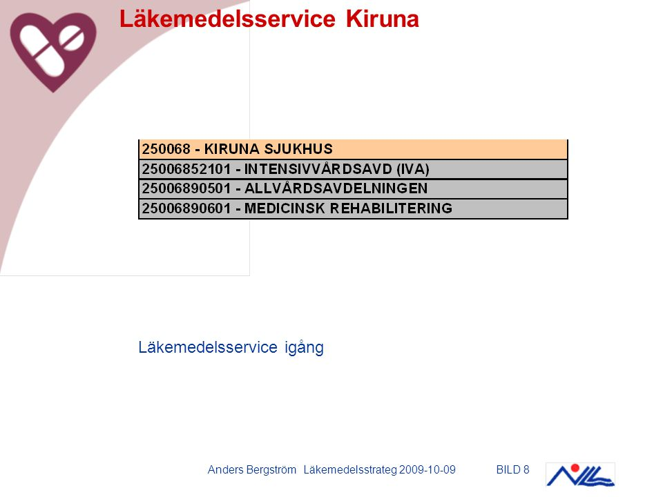 Anders Bergström Läkemedelsstrateg 2009-10-09BILD 8 Läkemedelsservice Kiruna Läkemedelsservice igång