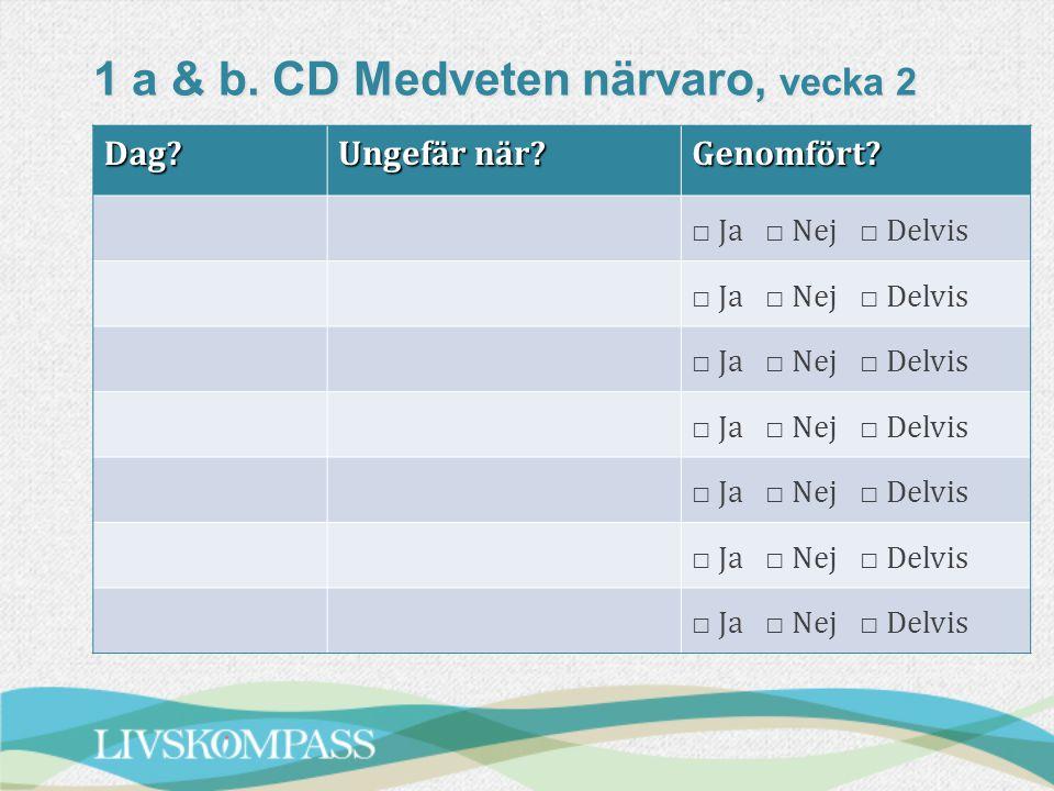 1 a & b. CD Medveten närvaro, vecka 2 Dag? Ungefär när? Genomfört? □ Ja □ Nej □ Delvis