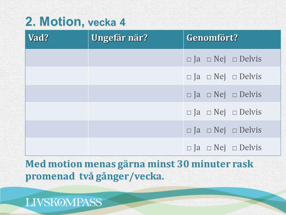 2.Motion, vecka 4 Vad. Ungefär när. Genomfört.
