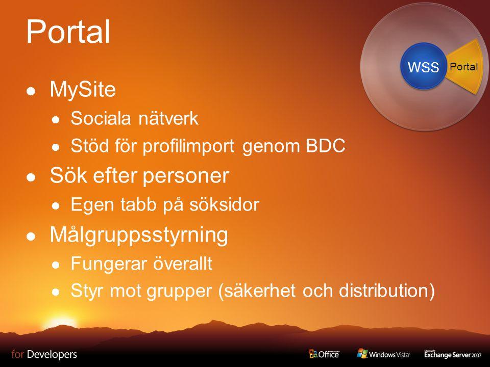 Portal MySite Sociala nätverk Stöd för profilimport genom BDC Sök efter personer Egen tabb på söksidor Målgruppsstyrning Fungerar överallt Styr mot grupper (säkerhet och distribution) WSS Portal