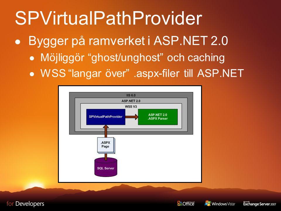 """SPVirtualPathProvider Bygger på ramverket i ASP.NET 2.0 Möjliggör """"ghost/unghost"""" och caching WSS """"langar över"""".aspx-filer till ASP.NET"""