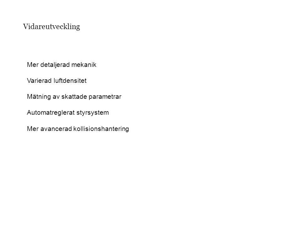 Vidareutveckling Mer detaljerad mekanik Varierad luftdensitet Mätning av skattade parametrar Automatreglerat styrsystem Mer avancerad kollisionshanter