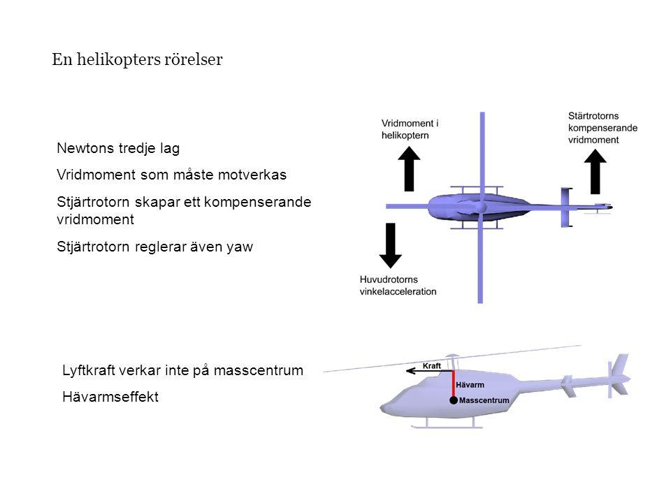 En helikopters rörelser Newtons tredje lag Vridmoment som måste motverkas Stjärtrotorn skapar ett kompenserande vridmoment Stjärtrotorn reglerar även