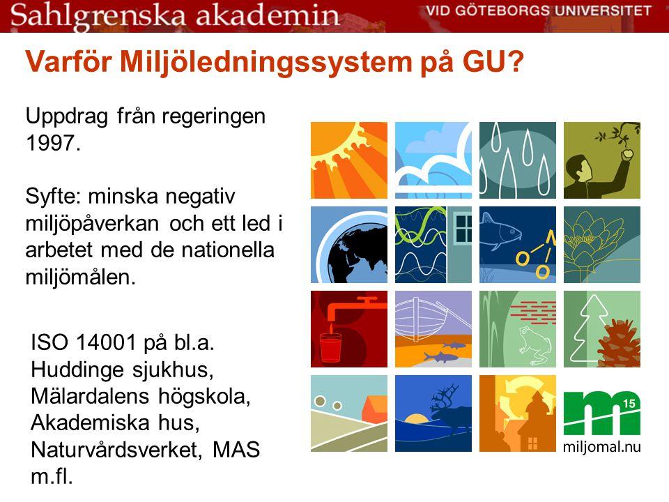 Varför Miljöledningssystem på GU.Uppdrag från regeringen 1997.
