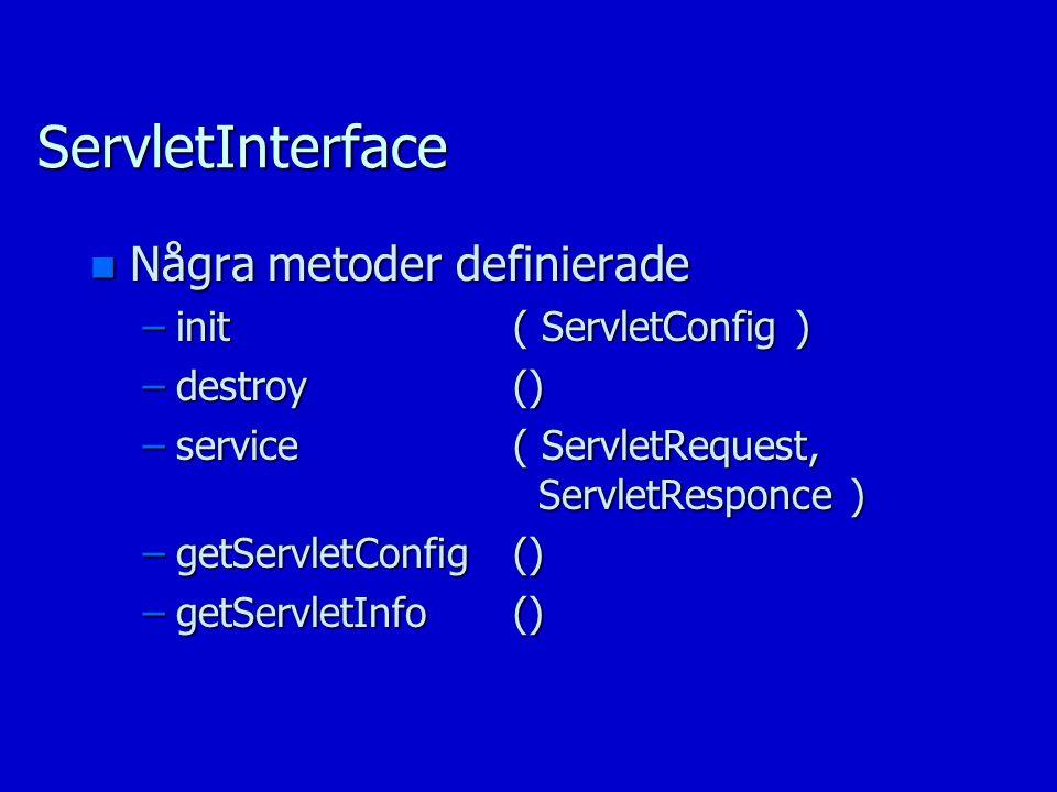 ServletInterface n Några metoder definierade –init( ServletConfig ) –destroy() –service( ServletRequest, ServletResponce ) –getServletConfig() –getServletInfo()
