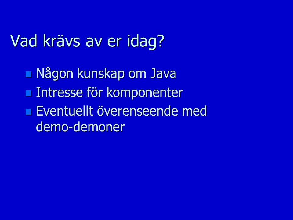 Vad krävs av er idag? n Någon kunskap om Java n Intresse för komponenter n Eventuellt överenseende med demo-demoner