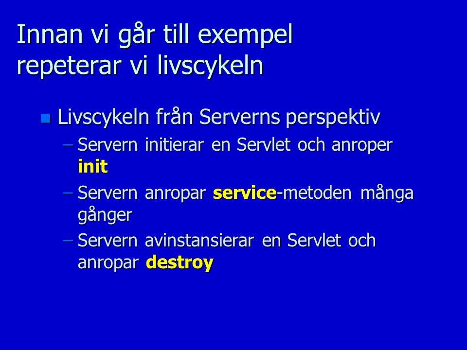 Innan vi går till exempel repeterar vi livscykeln n Livscykeln från Serverns perspektiv –Servern initierar en Servlet och anroper init –Servern anropa