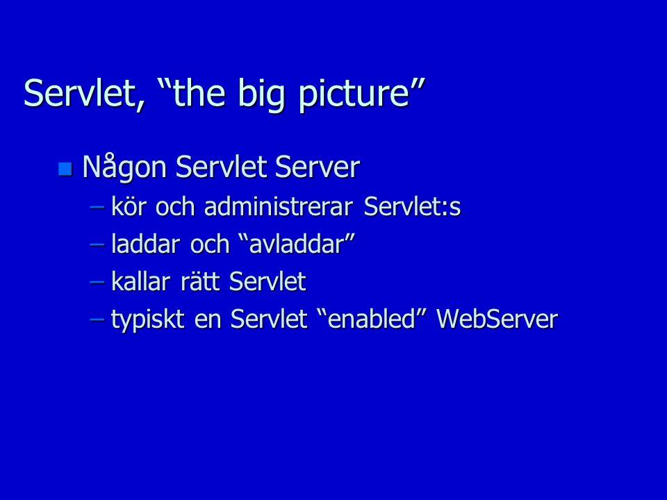 Servlet, the big picture n Någon Servlet Server –kör och administrerar Servlet:s –laddar och avladdar –kallar rätt Servlet –typiskt en Servlet enabled WebServer