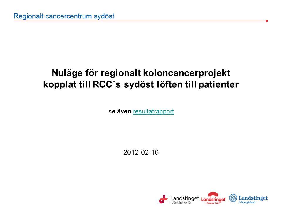 Nuläge för regionalt koloncancerprojekt kopplat till RCC´s sydöst löften till patienter se även resultatrapportresultatrapport 2012-02-16