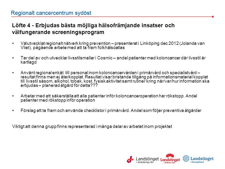 Löfte 4 - Erbjudas bästa möjliga hälsofrämjande insatser och välfungerande screeningsprogram Välutvecklat regionalt nätverk kring prevention – present