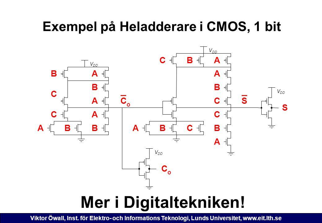 Viktor Öwall, Inst. för Elektro- och Informations Teknologi, Lunds Universitet, www.eit.lth.se Exempel på Heladderare i CMOS, 1 bit V DD V V V SC o Me