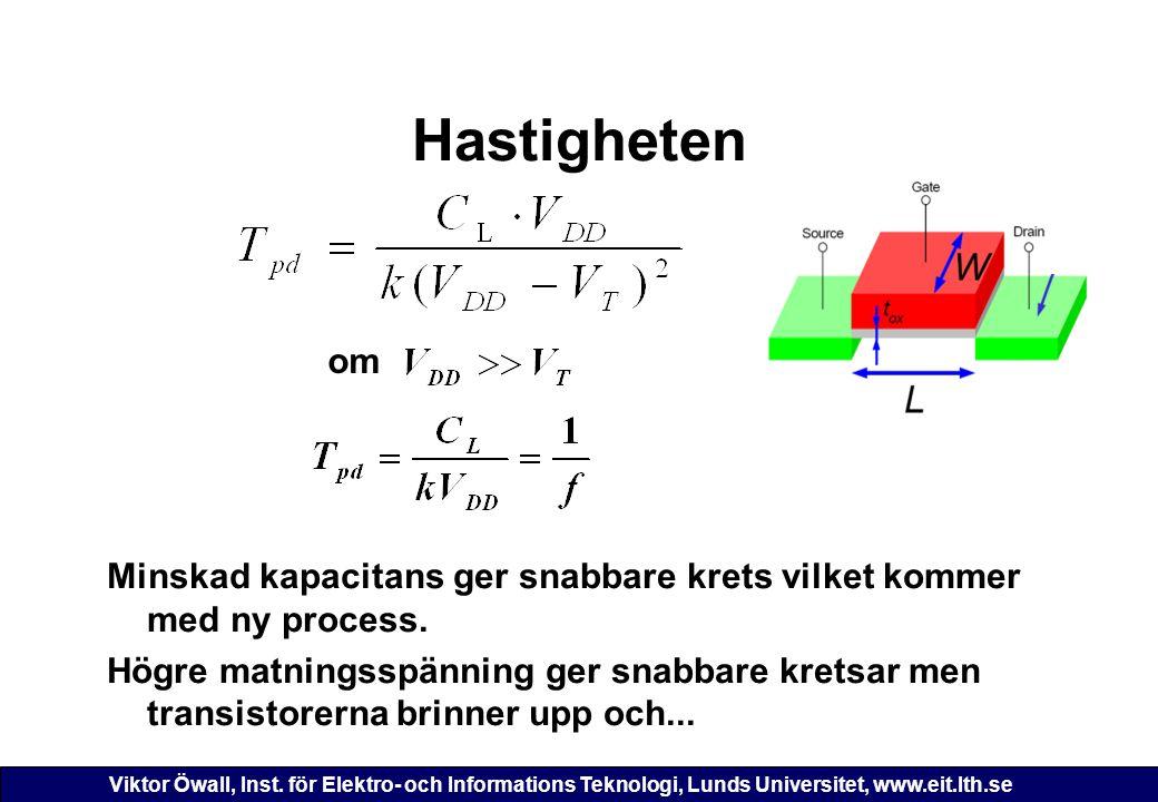 Viktor Öwall, Inst. för Elektro- och Informations Teknologi, Lunds Universitet, www.eit.lth.se Hastigheten Minskad kapacitans ger snabbare krets vilke