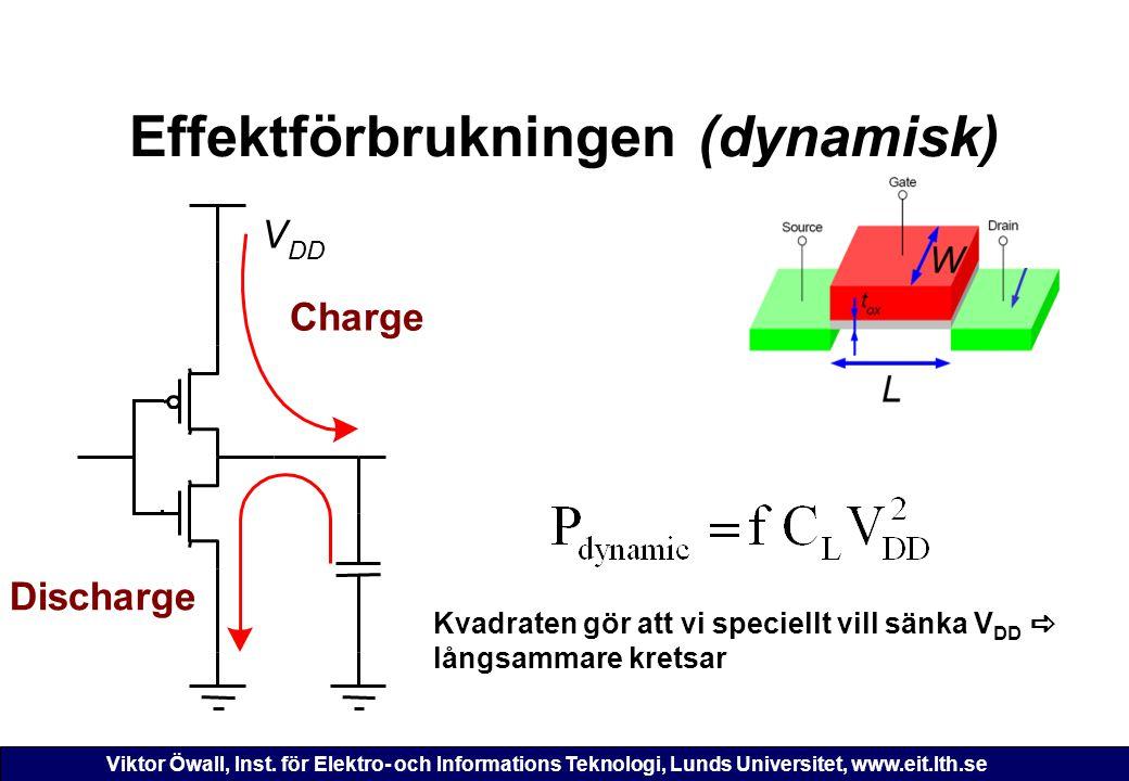 Viktor Öwall, Inst. för Elektro- och Informations Teknologi, Lunds Universitet, www.eit.lth.se Effektförbrukningen (dynamisk) Charge V DD Discharge Kv