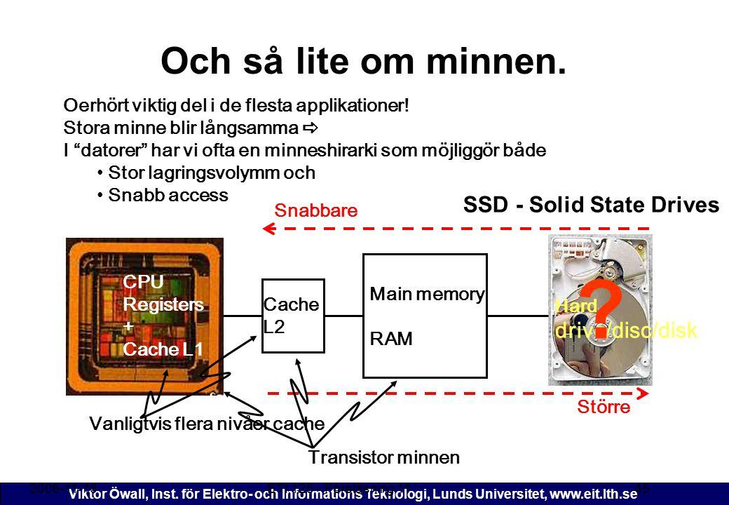 Viktor Öwall, Inst. för Elektro- och Informations Teknologi, Lunds Universitet, www.eit.lth.se Och så lite om minnen. 2006-11-16ETI 125 - Föreläsning