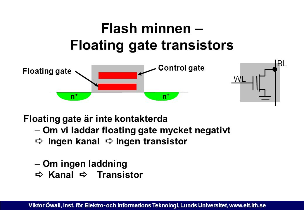 Viktor Öwall, Inst. för Elektro- och Informations Teknologi, Lunds Universitet, www.eit.lth.se Flash minnen – Floating gate transistors n + n + Floati