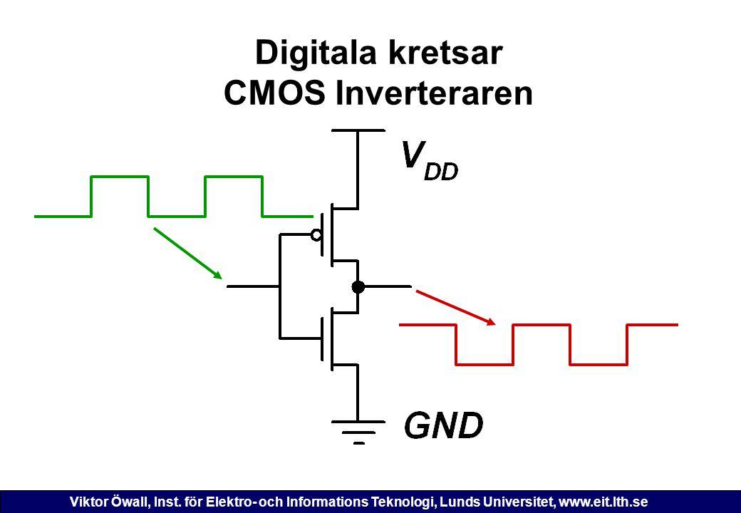 Viktor Öwall, Inst. för Elektro- och Informations Teknologi, Lunds Universitet, www.eit.lth.se Digitala kretsar CMOS Inverteraren
