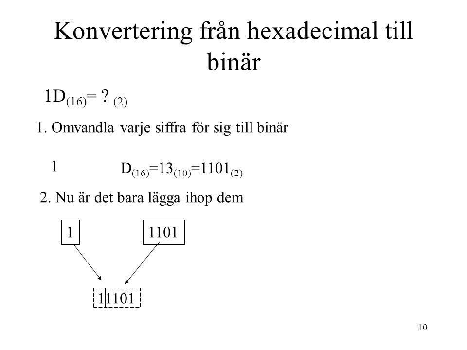 10 Konvertering från hexadecimal till binär 1D (16) = ? (2) 1. Omvandla varje siffra för sig till binär 2. Nu är det bara lägga ihop dem 1 D (16) =13