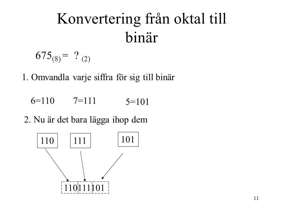 11 Konvertering från oktal till binär 1. Omvandla varje siffra för sig till binär 2. Nu är det bara lägga ihop dem 6=110 5=101 110 101 7=111 110111101